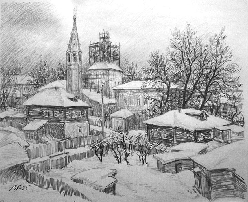 В серпухове рисунок карандашом 1985