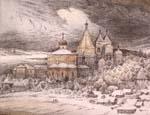 Vitaliy Gubarev: 'Vladuchny monastere'. Etching. 2003
