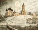 Vitaliy Gubarev: 'Vysotsky monastery'. Etching. 2003