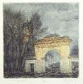 Vitaliy Gubarev: 'Forgoten estate'. Etching. 1991