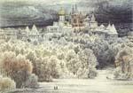 Vitaliy Gubarev: 'Hoar-frost. Zvenigorod'. Etching. 1987