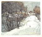 Vitaliy Gubarev: 'Winter in Volkovskoe'. Etching. 1985