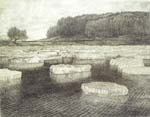 Vitaliy Gubarev: 'Ice floating at Oka'. Etching. 1991