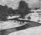 Vitaliy Gubarev: 'Le dégel'. Gravure a l'eau-fort. 1988