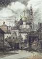 Vitaliy Gubarev: 'Sergiev Posad'. Gravure a l'eau-fort. 1994