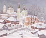 Vitaly Gubarev: L'hiver à Serpukhov. Gouache, 2008