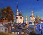 Vitaly Gubarev: Soir à Veliky Ustyug. Gouache