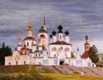 Vitaly Gubarev: Kreml à Velikiy Ustryg. Gouache, 2007