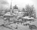 Vitaliy Gubarev: 'Winter. Serpuhov'. Pencil drawing. 1985