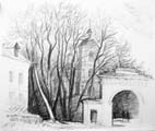 Vitaliy Gubarev: 'Estate of Dashkova'. Pencil drawing. 1985