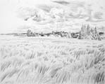 Vitaliy Gubarev: 'Noon in Novo-Spasskoe'. Pencil drawing. 1987