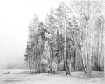 Vitaliy Gubarev: 'Forgy day'. Pencil drawing. 1989